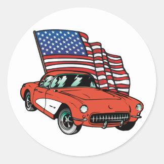 Amerikanische Flaggen-Vintages Muskel-Auto Runder Aufkleber