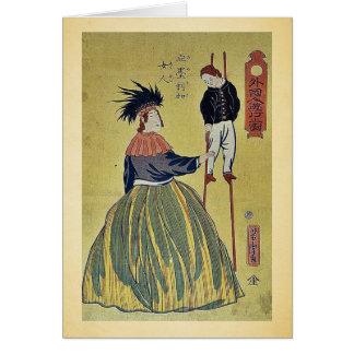 Amerikanische Frau durch Utagawa, Yoshitora Grußkarte