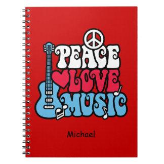Amerikanische FriedensLiebe-Musik Spiral Notizblock