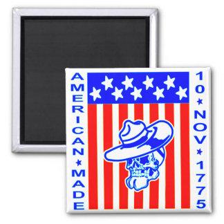 Amerikanische gemachte Schädel-Flagge am 10. Quadratischer Magnet