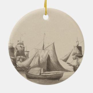 Amerikanische Geschichte - Segeln von Halifax Rundes Keramik Ornament