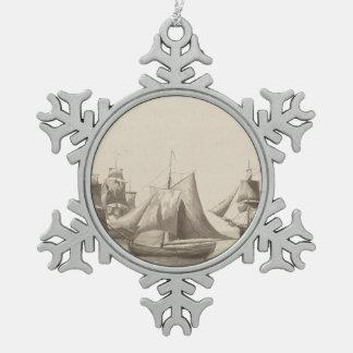 Amerikanische Geschichte - Segeln von Halifax Schneeflocken Zinn-Ornament