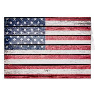 Amerikanische hölzerne Bild-Flagge Mitteilungskarte