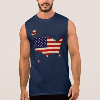 Amerikanische Karten-Flagge Ärmelloses Shirt