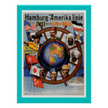 Amerikanische Linie Plakat Hamburgs
