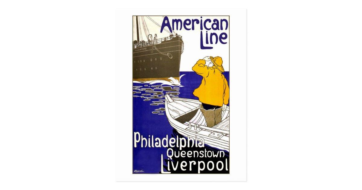 Amerikanische linie reise plakat entwurf postkarte zazzle - Amerikanische weihnachtskarten ...