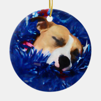 Amerikanische Pitbull Terrier USA patriotischer Keramik Ornament