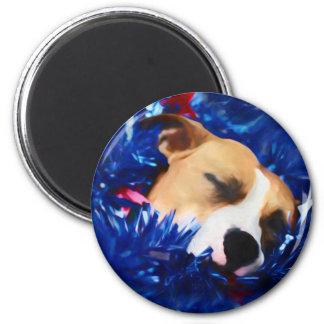 Amerikanische Pitbull Terrier USA patriotischer Runder Magnet 5,7 Cm