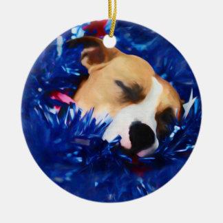 Amerikanische Pitbull Terrier USA patriotischer Rundes Keramik Ornament