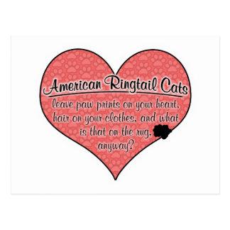 Amerikanische Ringtail-Tatze druckt Katzen-Spaß Postkarte