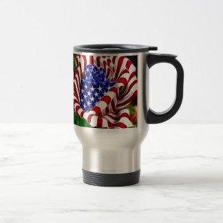 Amerikanische Rosen-Flagge Reisebecher