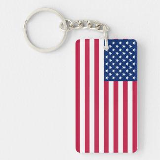 Amerikanische rote blaue Stern-Streifen-Flagge Beidseitiger Rechteckiger Acryl Schlüsselanhänger