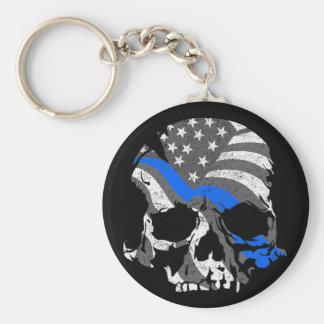 Amerikanische Schädel verdünnen Blue Line Schlüsselanhänger