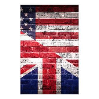Amerikanische und britische Flagge Briefpapier