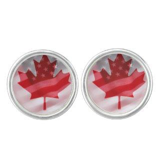 Amerikanische und kanadische Flaggen Manschettenknöpfe
