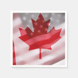 Amerikanische und kanadische Flaggen Papierserviette