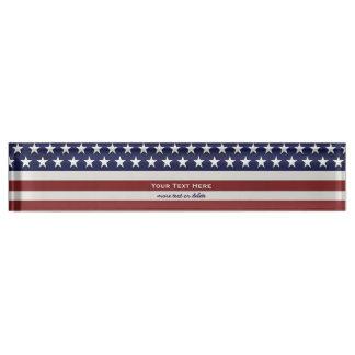 Amerikanische USA-Flaggen-patriotische am 4. Juli Namensplakette
