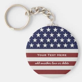 Amerikanische USA-Flaggen-patriotische am 4. Juli Standard Runder Schlüsselanhänger