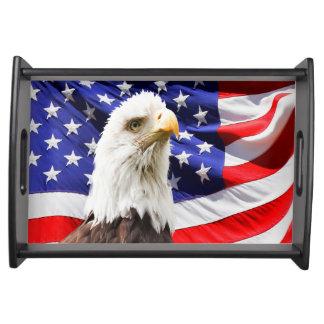 Amerikanische Weißkopfseeadler-Flagge Tablett