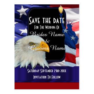Amerikanischer Adler und Flagge Save the Date Postkarten