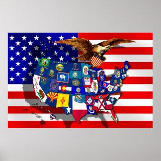 Amerikanischer Adler USA kennzeichnen US-Staatsfla Poster