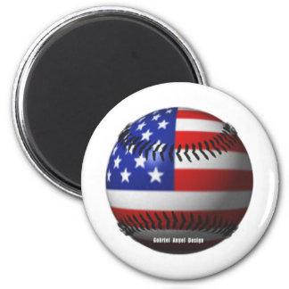 Amerikanischer Baseball Runder Magnet 5,1 Cm