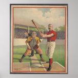 Amerikanischer Baseball, Vintager 1895 gerahmter K Plakate
