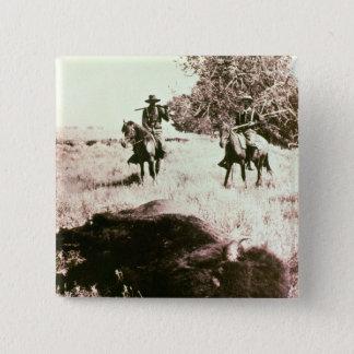 Amerikanischer Bison-Jäger (b/w Foto) Quadratischer Button 5,1 Cm