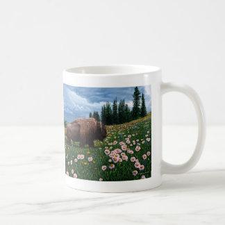 """Amerikanischer Bison - """"keine Zeit für Blumen """" Tasse"""
