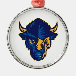 Amerikanischer Bison-Kopf Retro Silbernes Ornament