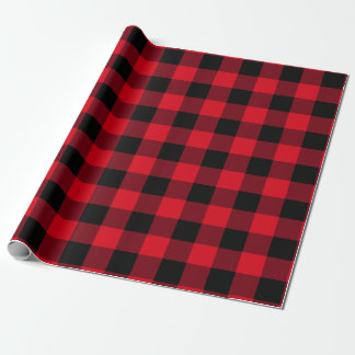 Amerikanischer Dachboden-Büffel-Karo rot und Geschenkpapier