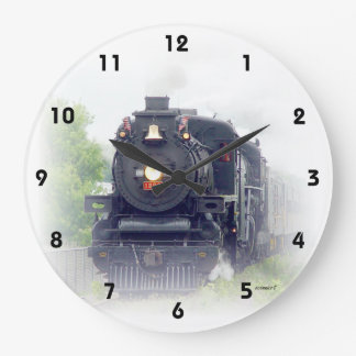 Amerikanischer Dampf-Zug Große Wanduhr