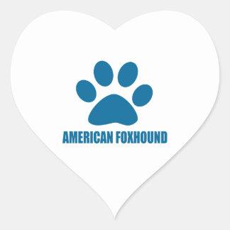 AMERIKANISCHER FOXHOUND-HUNDEentwürfe Herz-Aufkleber