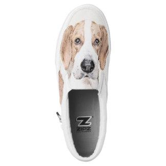Amerikanischer Foxhound-Malerei - niedliche Slip-On Sneaker