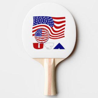 Amerikanischer Fußball und USA-Flagge Tischtennis Schläger