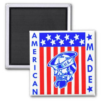 Amerikanischer gemachter Schädel-Flaggen-Seemann Quadratischer Magnet