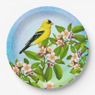 Amerikanischer Goldfinch in Apple blüht Pappteller 22,9 Cm