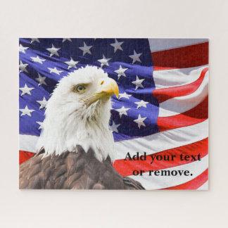 """Amerikanischer kahler Adler u. """"US Flagge"""" Flagge, Puzzle"""