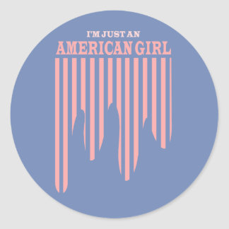 Amerikanischer Mädchen-US Flagge-Aufkleber Runder Aufkleber