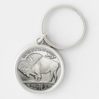 Amerikanischer Münzen-Entwurf Keychain Silberfarbener Runder Schlüsselanhänger