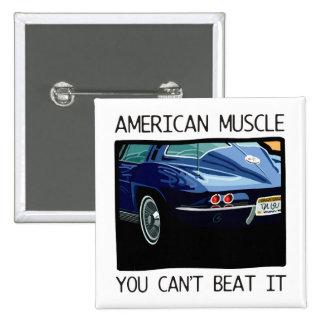 Amerikanischer Muskelauto, klassischer und Vintage Quadratischer Button 5,1 Cm