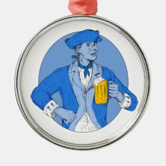 Amerikanischer Patriot, der das Bier-Tassen-ovale Silbernes Ornament