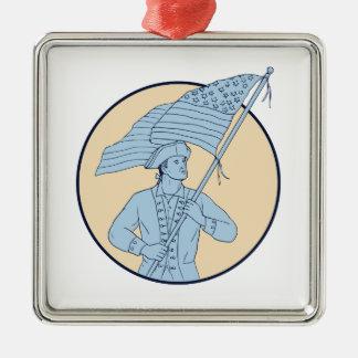 Amerikanischer Patriot, der das Quadratisches Silberfarbenes Ornament