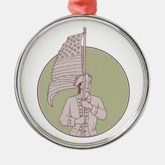 Amerikanischer Patriot stehendes Silbernes Ornament