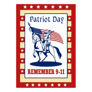 Amerikanischer Patriot-Tag erinnern sich Karte des Visitenkartenvorlagen