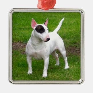 Amerikanischer Pitbull-Terrier-Hund Quadratisches Silberfarbenes Ornament