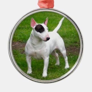Amerikanischer Pitbull-Terrier-Hund Rundes Silberfarbenes Ornament