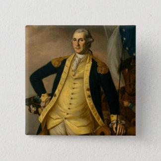 Amerikanischer Präsident: George Washington Quadratischer Button 5,1 Cm
