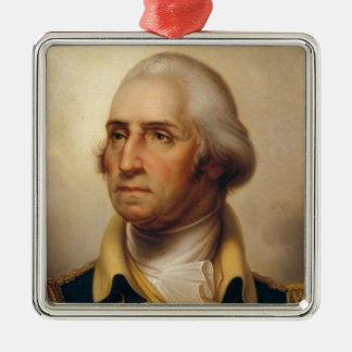 Amerikanischer Präsident: George Washington Quadratisches Silberfarbenes Ornament