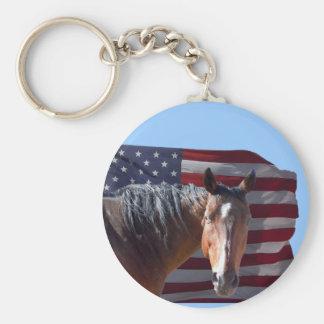 Amerikanischer Quarterhorse und Flagge - Schlüsselanhänger